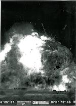 ROCKET-POWERED MISSILE LAUNCH EXPLOSION.