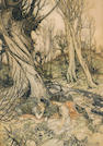 Arthur Rackham (British, 1867-1939) Hermia and Helena (from A Midsummer Night's Dream) 15 1/4 x 10 3/4in (38.7 x 27.3cm)