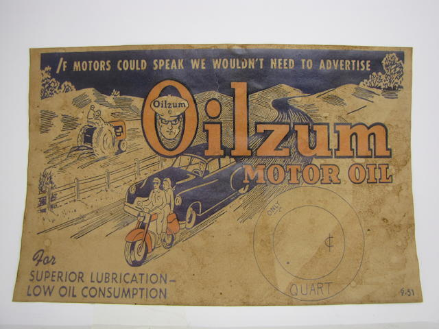 An original Oilzum advertisment, Circa 1951