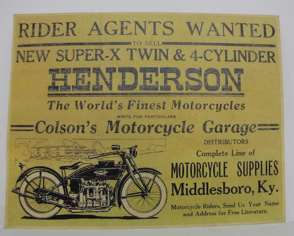 An original Henderson Motorcycle advertisment, circa 1920