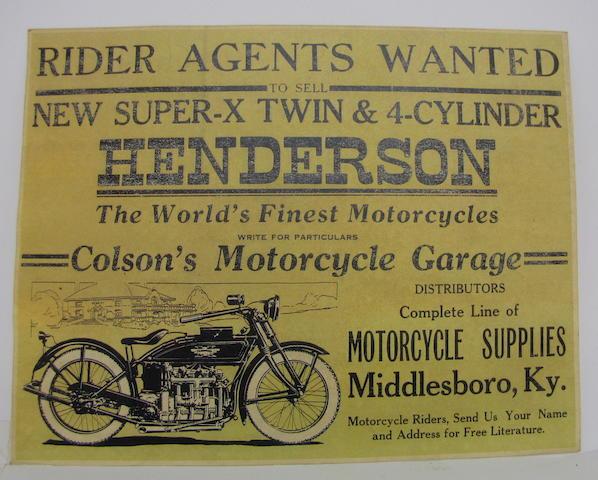 An original Henderson Motorcycle advertisment, circa 1920
