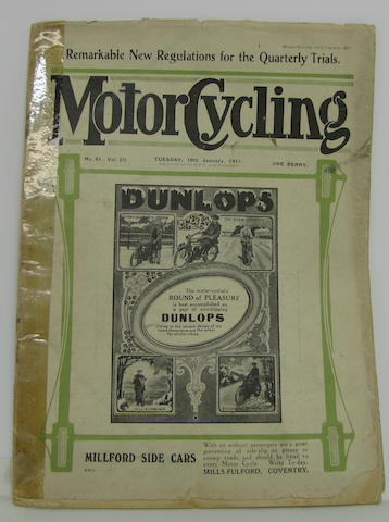An Issue of Motorcycling,  January 1911, Number 61, Volume III (4to)