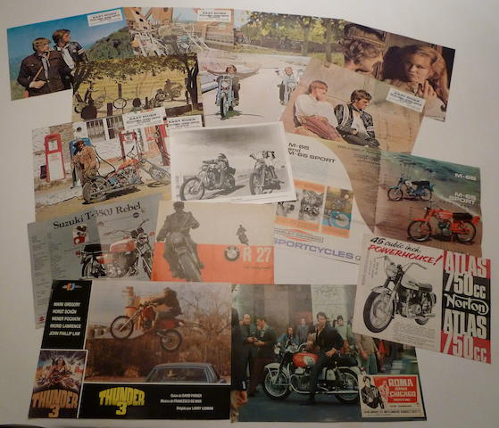 A quantity of 'Easy Rider' lobby cards together with a grouping of motorcycle brochures,
