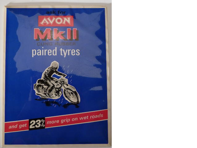 An Avon tire display advertisment, printed in England,