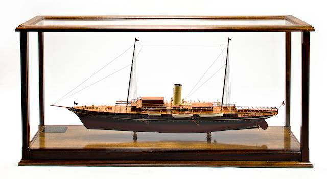 A model of the steam yacht Corsair (IV) 56 x 16-3/4 x 57 in. (142.2 x 42.5 x 144.8 cm.) cased model on stand.