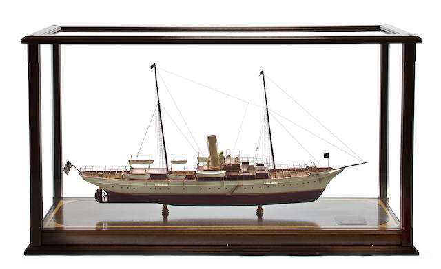 A model of the steam yacht North Star 50-1/4 x 15-1/4 x 58-1/4 in. (127.6 x 38.7 x 147.9 cm.) cased model on stand.