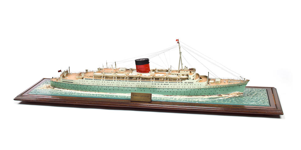 A waterline model of the R.M.S. Caronia  Attributed to Art Model Studios