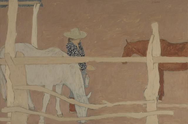 Susan Hertel (American, 1930-1992) Old Fence, Morning 26 x 39in