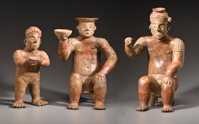 Colima Seated Marriage Pair with Standing Attendant, Coahuayana Style, Protoclassic, ca. 100 B.C. - A.D. 250