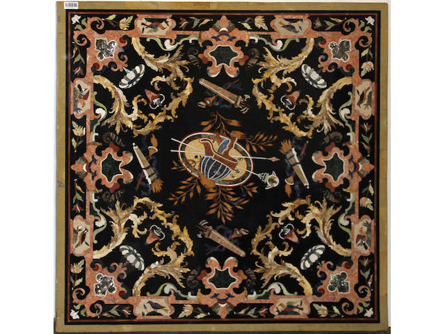 An Italian Baroque style figural and geometric inlaid pietra dura marble square table top