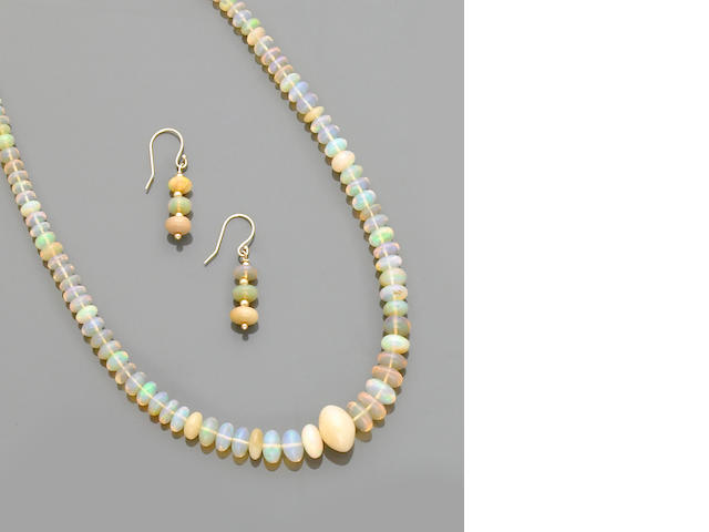 Hydrophane Opal Bead Necklace and Earrings
