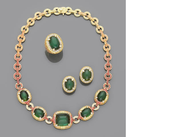 "Suite of Green Tourmaline, Multi-color Sapphire and Diamond Jewelry from the ""Crystal Candy Series"""