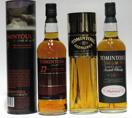 Tomintoul Glenlivet- 12 year old  Tomintoul- 14 year old  Tomintoul- 27 year old (2)