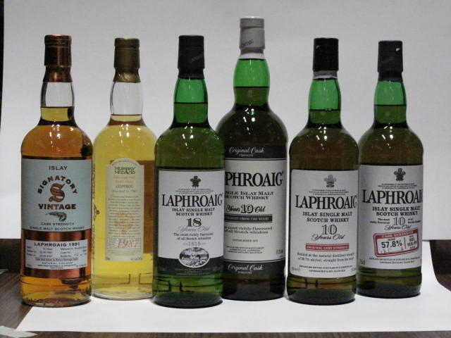 Laphroaig-10 year oldLaphroaig-10 year oldLaphraoig-10 year oldLeapfrog-12 year old-1987Laphroaig-16 year old-1991Laphroaig-18 year old