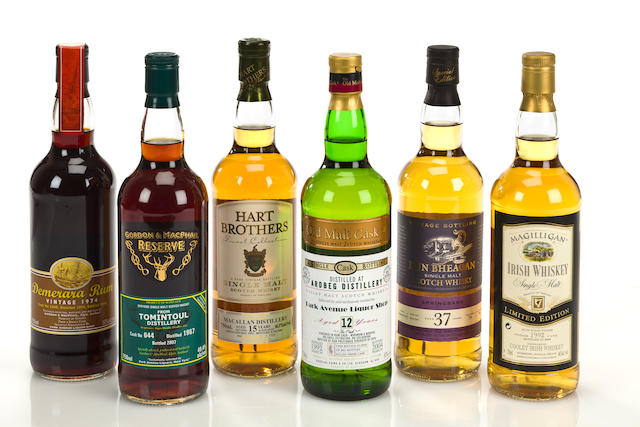 Ardbeg- 12 year old-1992  Macallan- 15 year old-1991  Springbank- 37 year old-1969  Tomintoul- 40 year old-1967  Magilligan- 1992  Demerara Rum- 30 year old-1974