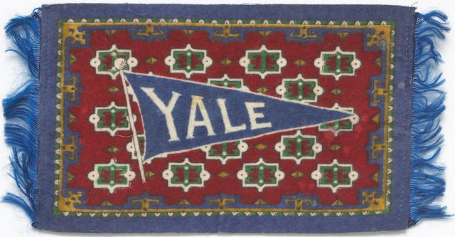 A very early and rare Yale motorcycle advertising miniture Afgan rug,
