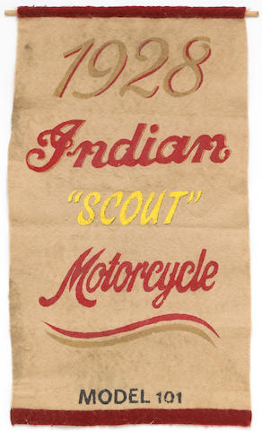 A very rare and early 1928 Indian Scout felt advertising banner,