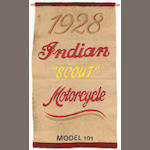 "A very rare and early 1928 Indian ""Scout"" motorcycle model 101 felt advertising banner,"