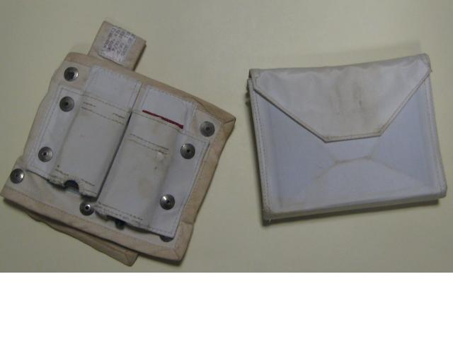 SPACE SUIT REPAIR KIT AND BIOBELT POUCH.