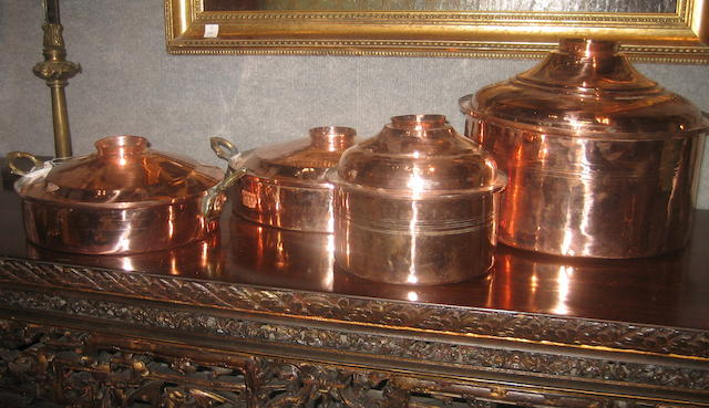 Four Turkish copper covered pots