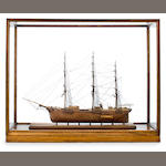 A well detailed and presented model of the clipper ship Miles Barton 39 x 12 x 31-1/4 in. (99.1 x 30.5 x 79.4 cm.) (cased).