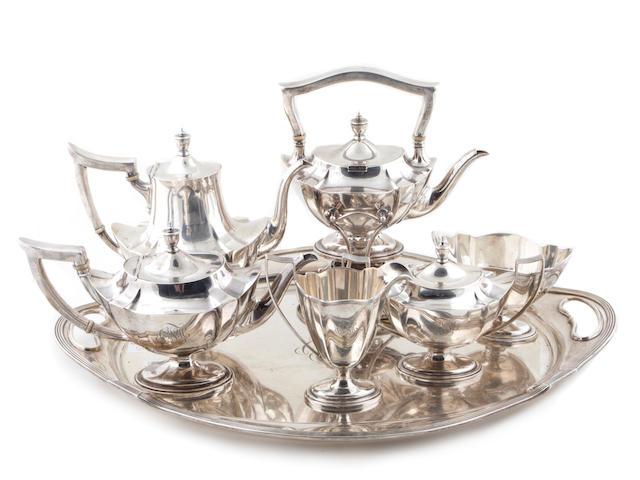 A sterling six piece tea and coffee set with matching tray Gorham Mfg. Co., Providence, RI, dated 1927  #s A2416; A2441,-2,-3,-4,-5; A2818; Plymouth, monogrammed: CFH