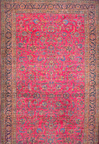 A Kerman carpet South Central Persia size approximately 13ft. x 27ft. 10in.