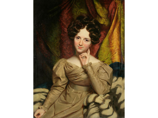 Attributed to Henry Inman (American, 1801-1846) Portrait of Julia Anna Hosmer 36 x 28in