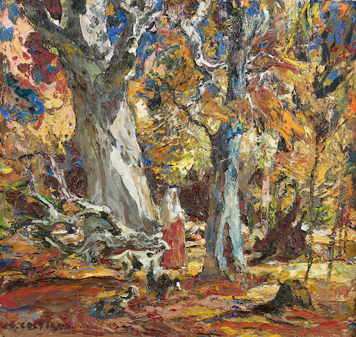 John Edward Costigan (American, 1888-1972) Autumn Woodland 16 1/2 x 17in