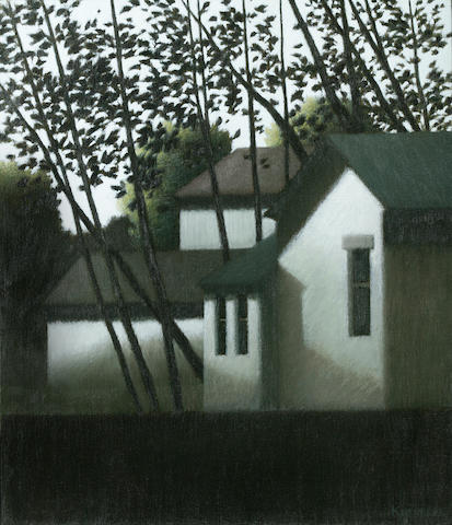 (n/a) Robert Kipness (American, born 1931) Trees and houses 14 x 12in