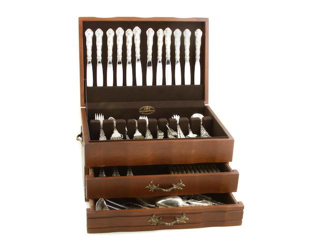 An assembled sterling flatware set, with wooden case Gorham Mfg. Co., Providence, RI  Strasbourg, monogrammed: S