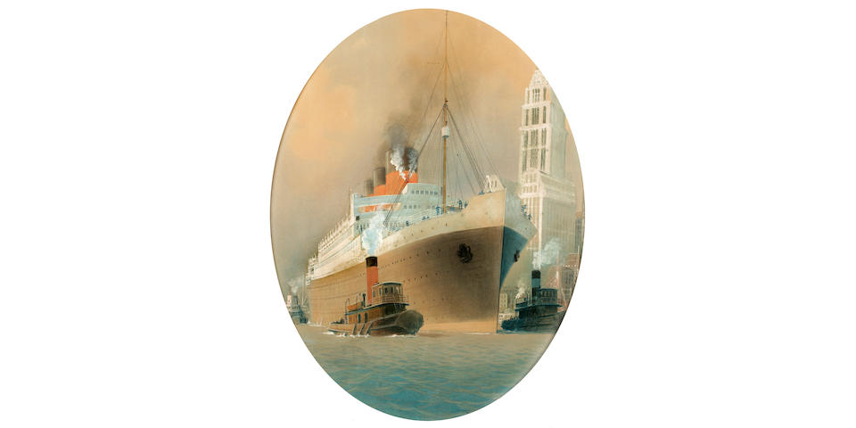 (n/a) Sandy (Georges Taboureau) Hook (1879-1960), circa 1930 The S.S. Paris departing New York  41 x 32 in. (104.2 x 81.4 cm.)