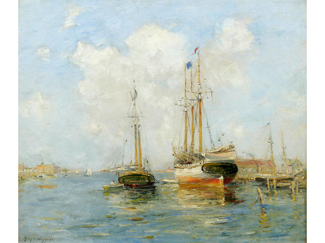 (n/a) Guy C. Wiggins (American, 1883-1962) Sailing ships in a harbor 20 x 24in