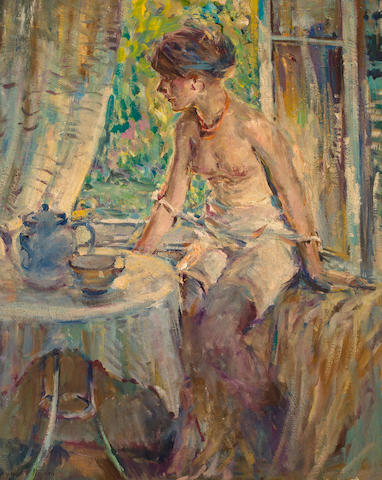 Raymond Perry  Rodgers Neilson (American, 1881-1964) Seated nude at tea 39 1/4 x 31 3/4in