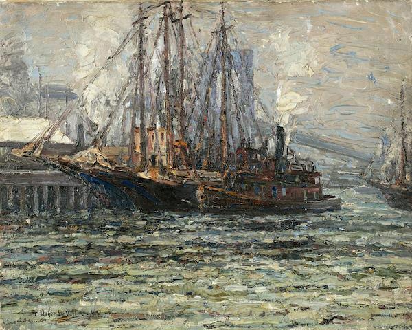 (n/a) Frederick Usher Devoll (American, 1873-1941) Shipping under the Brooklyn Bridge 16 x 20in unframed