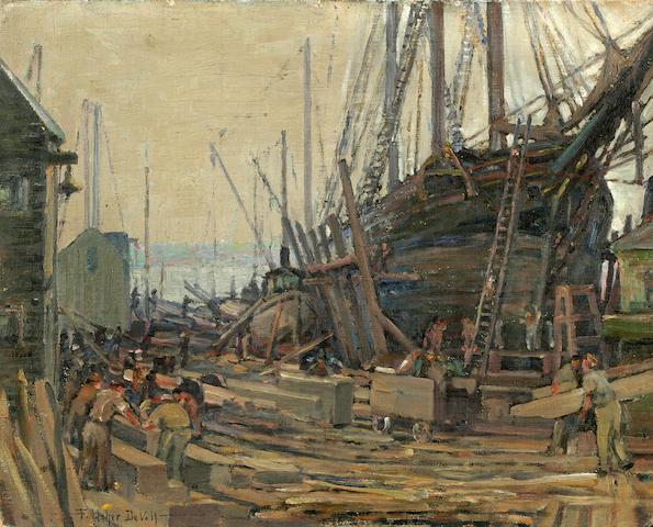 (n/a) Frederick Usher Devoll (American, 1873-1941) Ship in dry dock 16 x 20in unframed