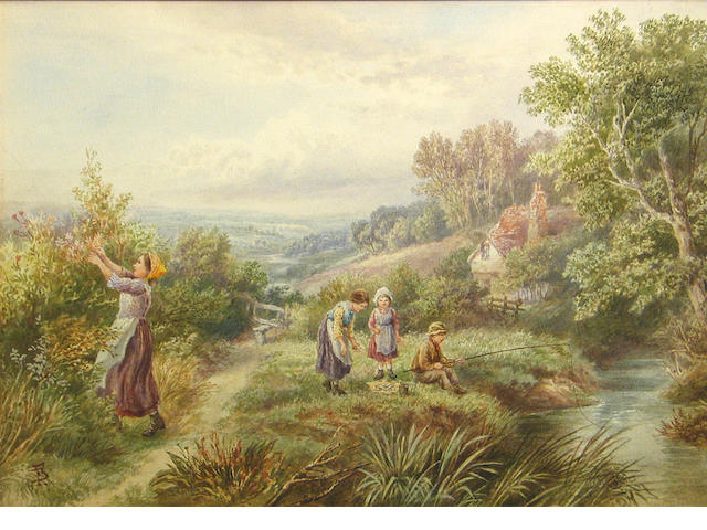 Follower of Myles Birket Foster, RWS (British, 1825-1899) Fishing on a summer afternoon 10 1/4 x 14in