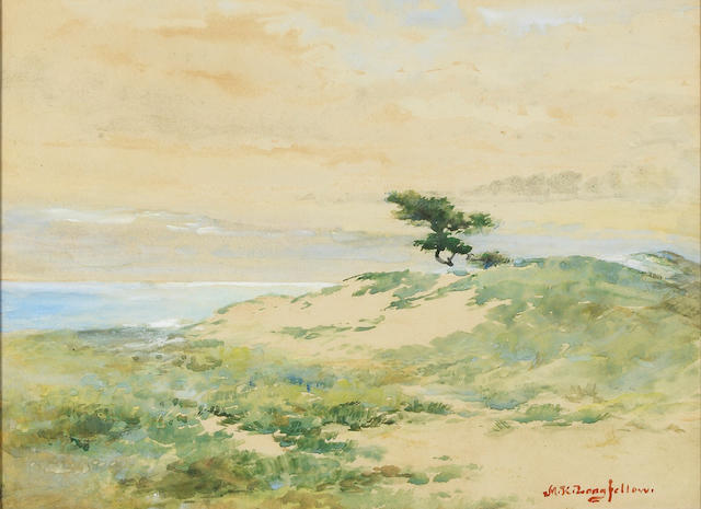Mary King Longfellow (American, 1852-1945) Lone tree 10 3/4 x 14in