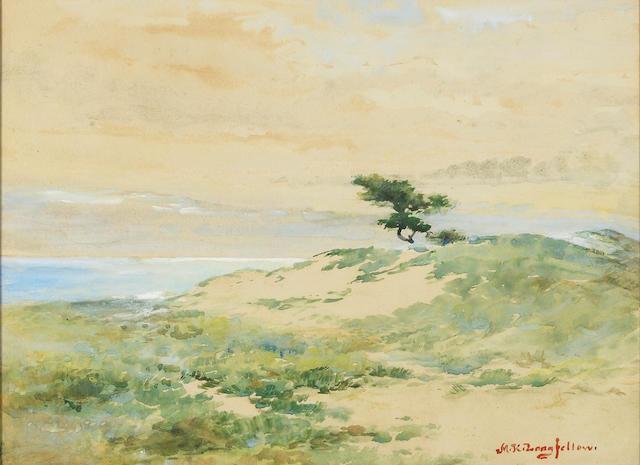Mary King Longfellow (American, 1852-1945) Lone tree 10 3/4 x 14in