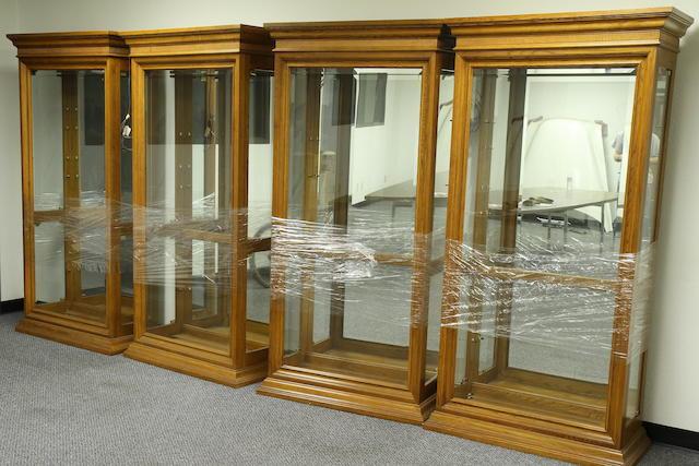 Four contemporary hardwood display case,