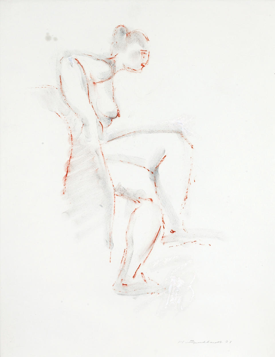 Hans Gustav Burkhardt (American, 1904-1994) Seated Nude, 1967; Nude with Dog, 1967; Seated Nude in Profile, 1968 (3) each 24 x 18in