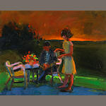 Henrietta Berk (American, 1919-1993) Sunset on the Patio 16 x 20in