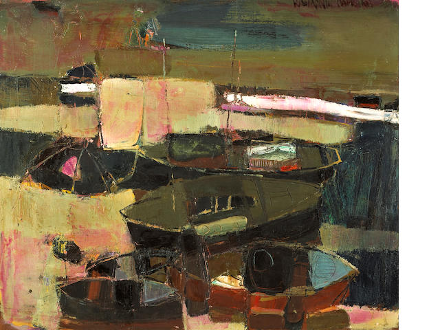 Raimonds Staprans (Latvian/American, born 1926) Boats at Newport, no. 2, 1959 28 x 34in