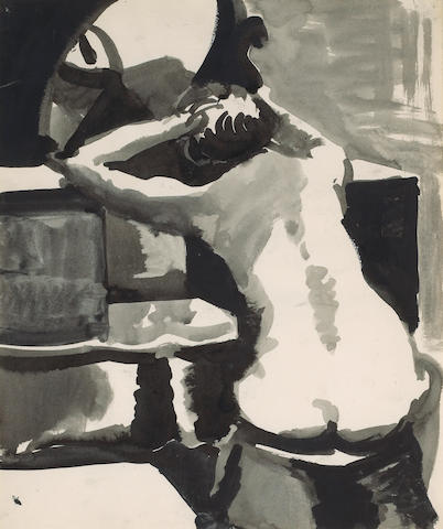 Elmer Nelson Bischoff (American, 1916-1991) Seated Nude 17 3/4 x 15in