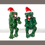 David James Gilhooly (American, born 1943) Christmas Frogs, 1979 (2) each approximately 10 x 4 x 4in