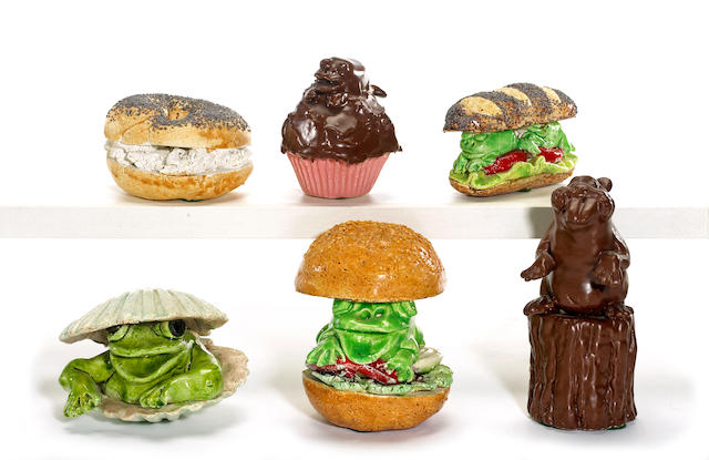 David James Gilhooly (American, born 1943) Frog Hoagie, 1977; Frog on Kaiser Roll, 1977; Bagel, 1977; Frog Cupcake, 1979; Chocolate Beaver, 1979; Frog Clam, 1981 (6) sizes vary<br>heights from 2 1/2in to 6in