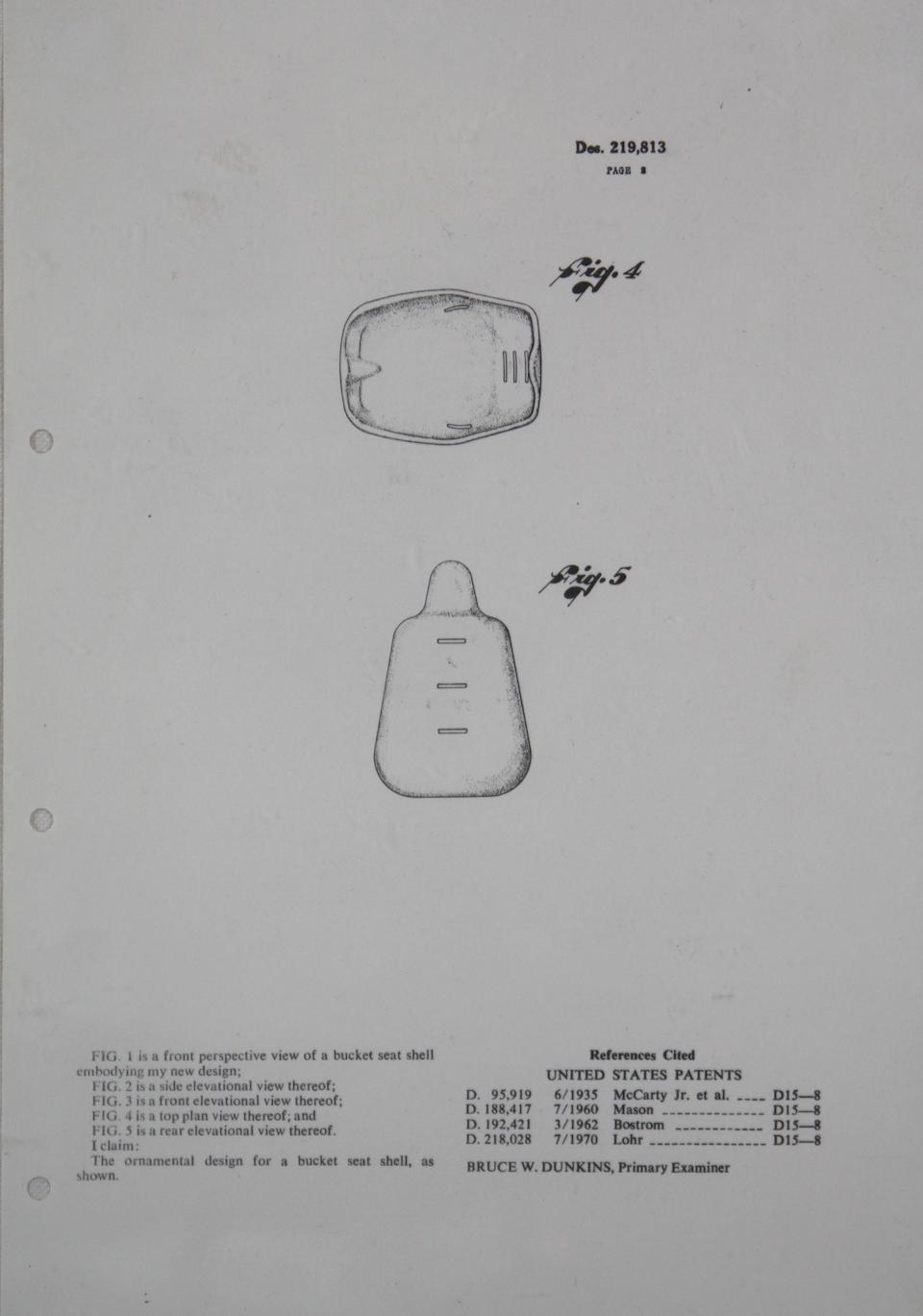 "An Ex-Steve McQueen Solar plastics ""Baja Bucket"" US Patent Certificate #219,813,"