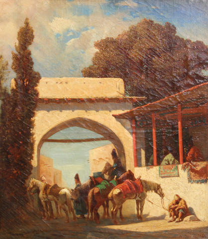 Studio of Alberto Pasini (Italian, 1826-1899) An arab gateway with horses and figures 18 x 14 3/4in