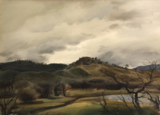 Emil Jean Kosa, Jr. (American, 1903-1968) Rolling hills under cloudy skies 22 3/4 x 30 1/2in