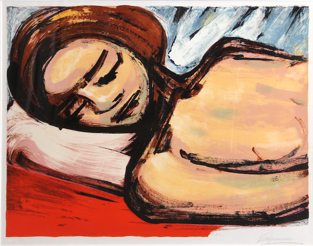 David Alfaro Siqueiros (Mexican, 1896-1974); Reposa (Reclining Woman);